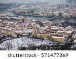 aerial view of prague under the ... | Shutterstock . vector #571477369