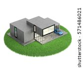modern house on lawn icon... | Shutterstock . vector #571486021