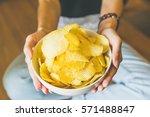 the potato chips bowl | Shutterstock . vector #571488847
