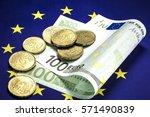one hundred euro bill lying in... | Shutterstock . vector #571490839