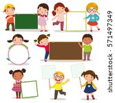 set of children holding blank... | Shutterstock .eps vector #571497349