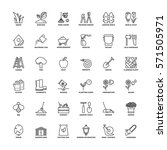outline icons set. flat symbols ... | Shutterstock .eps vector #571505971