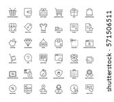 outline icons set. flat symbols ... | Shutterstock .eps vector #571506511
