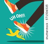 person slipping on a banana... | Shutterstock .eps vector #571506535