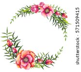 floral wreath with watercolor... | Shutterstock . vector #571509415
