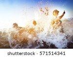happy friends having fun in the ...   Shutterstock . vector #571514341