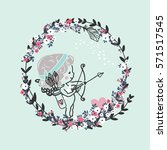 little cupid in floral wreath | Shutterstock .eps vector #571517545