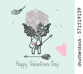 little cupid valentine's day... | Shutterstock .eps vector #571519159