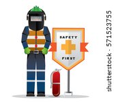 construction worker standing... | Shutterstock .eps vector #571523755