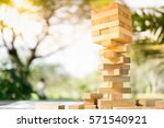 the tower stack from wooden... | Shutterstock . vector #571540921