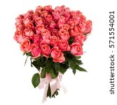a bouquet of fresh pink roses... | Shutterstock . vector #571554001