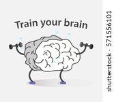 creative cartoon brain concept. ... | Shutterstock .eps vector #571556101