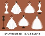 wedding dress. vector set. | Shutterstock .eps vector #571556545