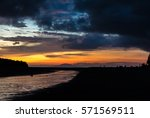 sunset viewing on a beach with... | Shutterstock . vector #571569511