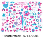 valentine s day icon set.... | Shutterstock .eps vector #571570201