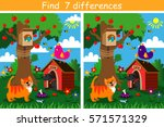 find 7 differences game for... | Shutterstock .eps vector #571571329