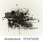 grunge banner with car... | Shutterstock .eps vector #571571455