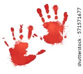 red bloody hand prints with... | Shutterstock .eps vector #571571677