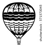hot air balloon black and white ... | Shutterstock .eps vector #571573045
