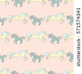 children's pattern flying sheep ... | Shutterstock .eps vector #571574341