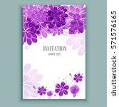 watercolor flowers card ... | Shutterstock .eps vector #571576165