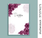 watercolor flowers card ... | Shutterstock .eps vector #571576171