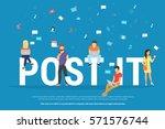 post it concept illustration of ... | Shutterstock .eps vector #571576744