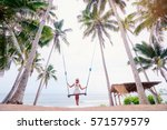 vacation concept. happy young... | Shutterstock . vector #571579579