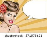 pin up sexy woman portrait with ...   Shutterstock .eps vector #571579621