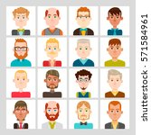 male avatar set. vector... | Shutterstock .eps vector #571584961