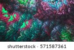 Corals. Colored Leaves. 3d...