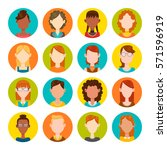 colorful round icons with... | Shutterstock .eps vector #571596919