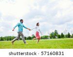 couple running enjoying a day... | Shutterstock . vector #57160831