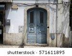blue old wooden door on... | Shutterstock . vector #571611895