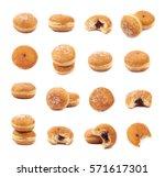 jam filled doughnut isolated... | Shutterstock . vector #571617301