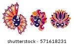 venetian mask set. mardi gras ... | Shutterstock .eps vector #571618231