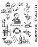 restaurant and waiter set   Shutterstock .eps vector #571618711