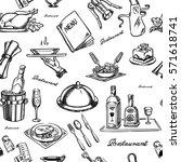 restaurant and waiter seamless   Shutterstock .eps vector #571618741