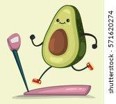 cute avocado doing exercises on ... | Shutterstock .eps vector #571620274