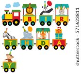 birthday train with characters  ... | Shutterstock .eps vector #571623811