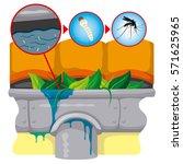 nature  gutter with still water ... | Shutterstock .eps vector #571625965