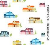 suburban houses seamless... | Shutterstock .eps vector #571628569