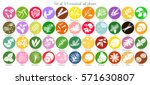 big icon set of 44 popular... | Shutterstock .eps vector #571630807