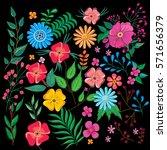 flowers pattern on black... | Shutterstock .eps vector #571656379