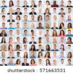 collage of diverse multi ethnic ... | Shutterstock . vector #571663531
