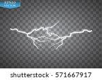 set of lightnings. thunder... | Shutterstock .eps vector #571667917