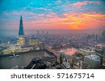 beautiful sunset over london ... | Shutterstock . vector #571675714