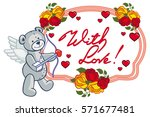 oval frame with red roses ... | Shutterstock . vector #571677481