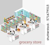 isometric interior of grocery... | Shutterstock .eps vector #571679515