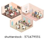 isometric interior of sweet... | Shutterstock .eps vector #571679551